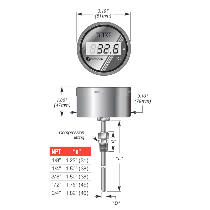 LCD Digital Temperature Gauge, Battery Powered,  RTD Sensor Probe, Compression Fitting Details