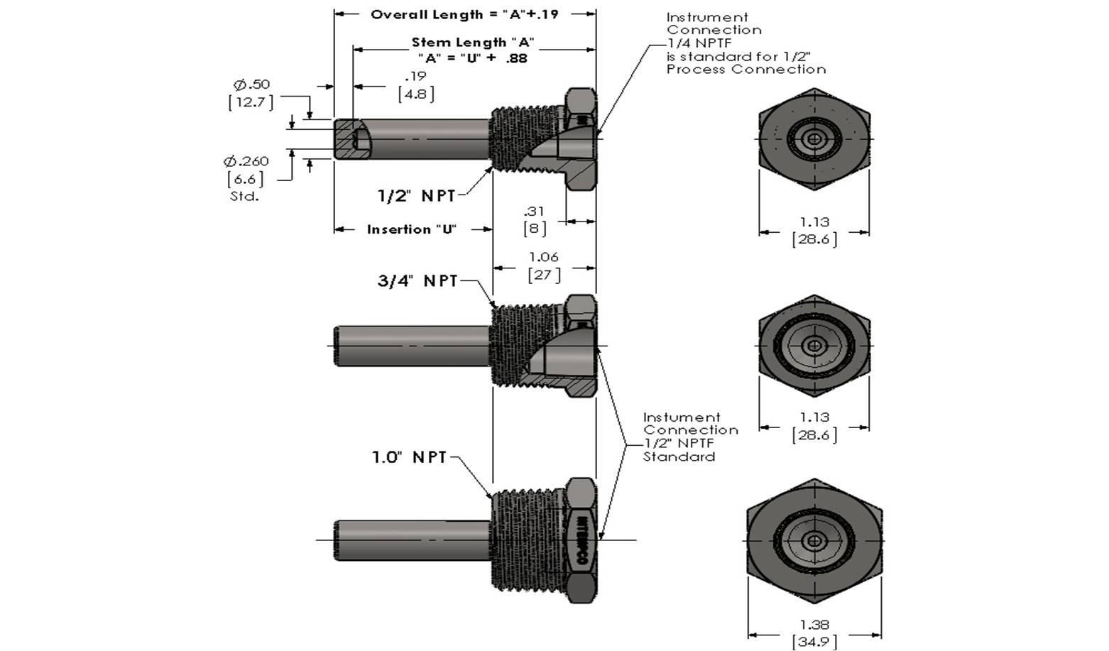 Standard Threaded Limited Space Thermowell Details
