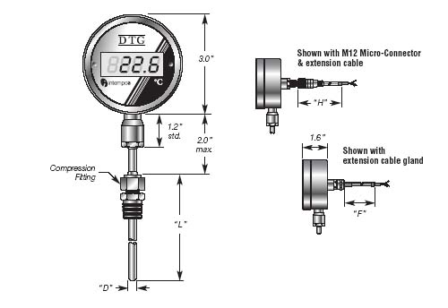 DTG03 Digital Temperature Indicator and RTD Sensor  Probe , Compression mount  Details