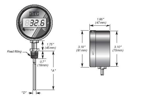LCD Digital Temperature Indicator, Battery Powered, RTD Sensor Probe, Welded Fitting Details
