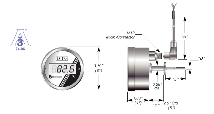 LCD Digital Temperature Indicator, Battery Powered,  RTD Sensor Probe, Sanitary Fitting Details