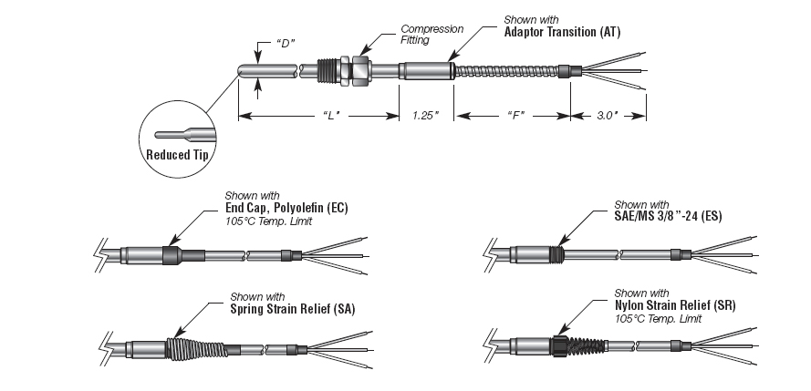 Capsule RTD with Transition w/ Extension Cable and Adjustable Compression Fitting Details