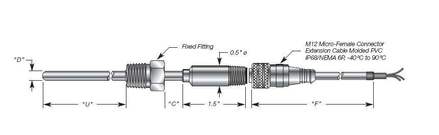 Direct Immersion RTD w/Micro Connector & Welded Process Threaded Hex Fitting Details