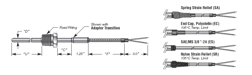 Capsule T/C with Transition - Extension Cable and Wlded Process Fitting Details