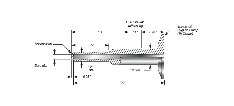 Sanitary Thermowell, Quick Connect Stepped Stem, Weld-In-Place Details