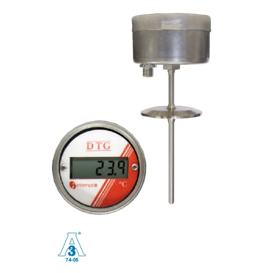 LCD Digital Temperature Indicator, Battery Powered,  RTD Sensor Probe, Sanitary Fitting Picture