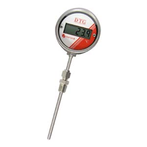 LCD Digital Temperature Gauge, Battery Powered,  RTD Sensor Probe, Compression Fitting Picture