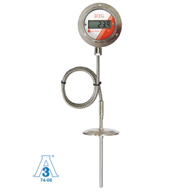 LCD Digital Temperature Indicator, Battery ,  RTD Remote Sensor Probe, Sanitary Fitting Picture