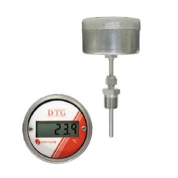 LCD Digital Temperature Gauge, Battery Powered,  RTD Sensor Probe, Compression Fitting Stock Item